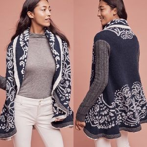 Anthropologie First Snow Shawl Open Sweater Coat